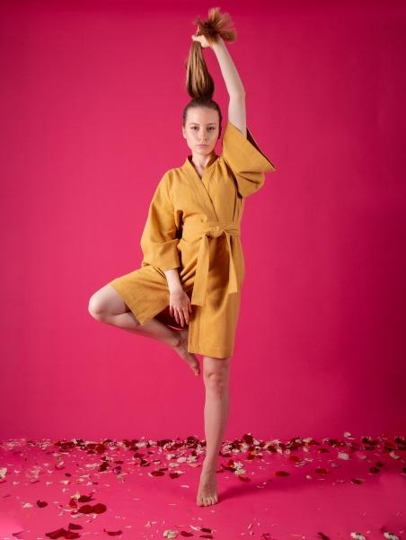 Kimono lniane Hirado Ochra - Kikimono - shopkikimono.com