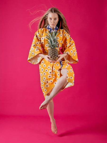 Kikimono - Tama żółte kimono bawełniane