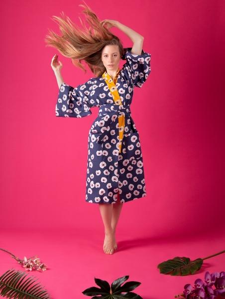 Kikimono - Tama Niebieskie - kimono bawełniane długie